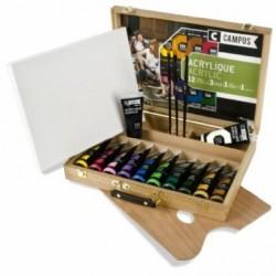 Dřevěný kufřík campus akrylové barvy 12 x 100 ml