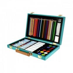 Modrý dřevěný multifunkční kufřík pro děti Lefranc